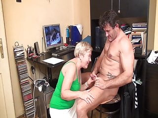 Blowjob Big Ass video: Caught jerking off by horny grandma!
