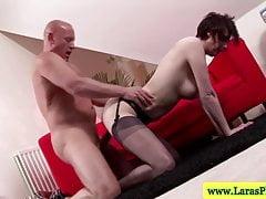 Mature stockings brit getting plowed