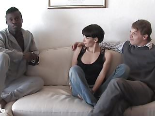 Pia Sofies first black cock while her cuckold is watching