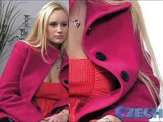 捷克豐滿的金發女郎在鑄造中噴灑了spunk