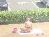 English slut thong in park voyeur string bikini