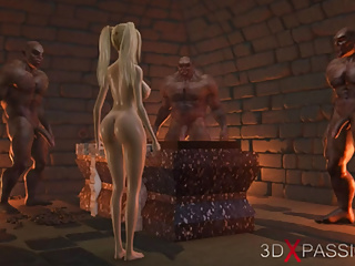 Gangbang Double Penetration Blonde video: Sweet schoolgirl gets gangbanged by brutal orcs in dungeon