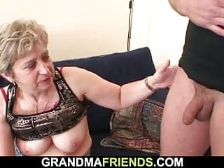 Matures Grannies Stockings video: Old grandma in black stockings gives head and rides