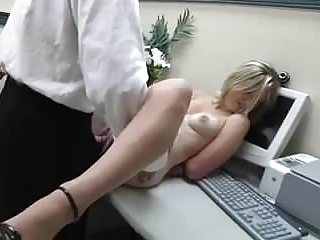 .Blonde Handcuffed and FckedRough in the Office.
