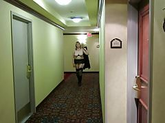 Flashing in a Marriott hotel hallway