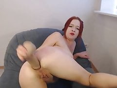 Horny camgirl anal dildo and fisting