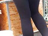 Leggy Brunette in Yoga Pants Creep