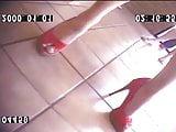Cutie Blonde In Peep Toe Heels Candid Feet