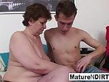 Chubby granny masturbates for him