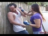Cindy Breaks a Fighter - Outdoor Beatdowns and Facebusting