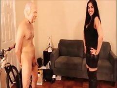 Very hot cruel mistress ballbusting and destroys slave