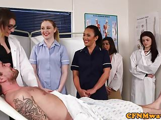 Group Sex Femdom Cfnm video: Dominant nurses sucking naked patients dick