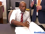 Black stud dicksucking his new boss