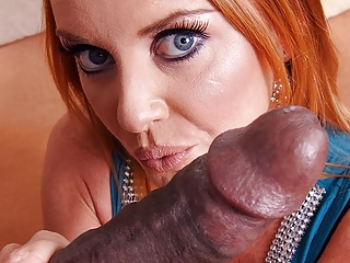 Hardcore Pov Blowjob video: Experienced, red haired fuck doll, Janet Mason sucks black c