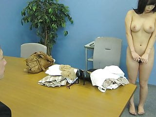 Asian office brunette sucking the dude to cum on her breasts