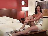 Latina Posing In White Shiny Pantyhose