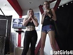 A ballbusting session with Goddess Kyaa and Kaiia Eve