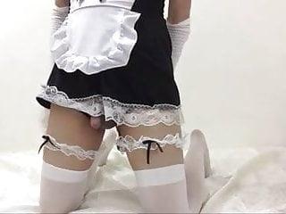 Serving the black dildo crossdresser maid...