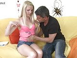 Blonde teen daughter doing a dirty old man
