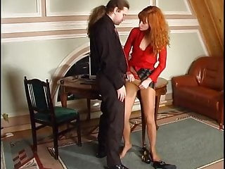 Diana wears her pantyhose to play around with her co-worker