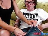 Good looking chick throat fucked by a nerdy fake agent