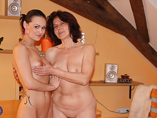 Taboo lesbian intercourse with granny and younger chick