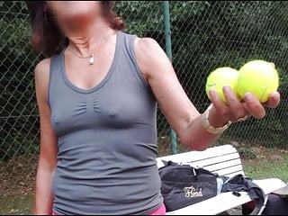 Long Nipples Mature playing tennis braless