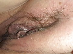 Playing with her wet big lip pussy before she pegs my ass