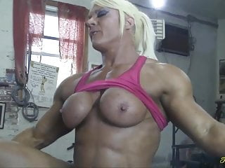 Blonde Blowjob Big Tits video: British muscle woman gets her pussy eaten and fucked