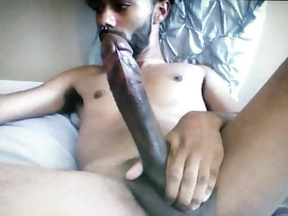 Horse hung huge cock young black guy edging his cock