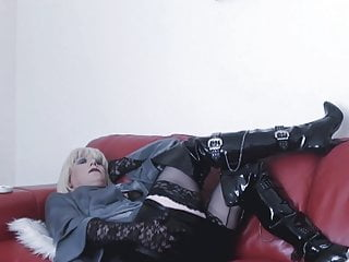 Smoking in thigh boots