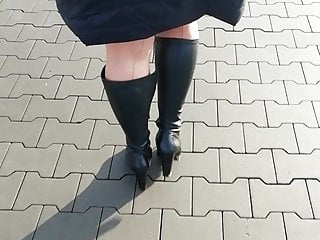 In nylon FF stockings for work. Poland wife.