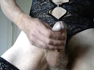Wanking in black basque and stockings to cumshot