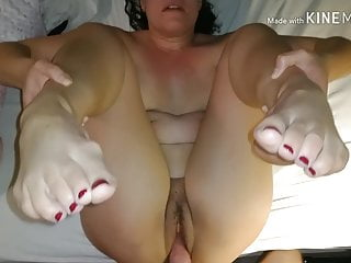 Ms. Tailor with her exquisite red toes gains pumped full of cum
