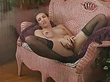 Hairy girl toying in black stocking