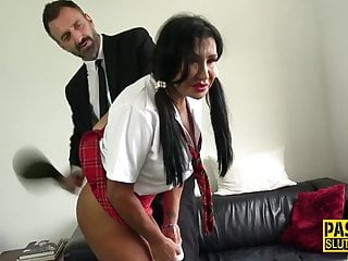 Mature sub gets throated and pounded
