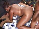 Curvy black chick sucks and gets banged