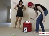 Two fit babes playing a memory game, loser strips and faces