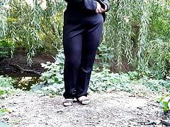 Big ass Russian milf pissing outdoors