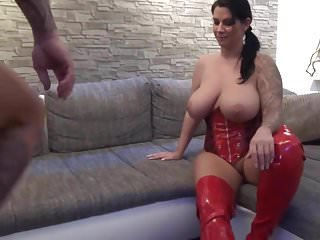 Big Titted Slut In Red Latex Fucked In The Ass