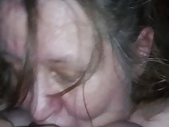 Big tit granny – gum job and swallow