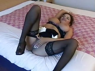 British slut Alexis Silver fingers in a hotel room
