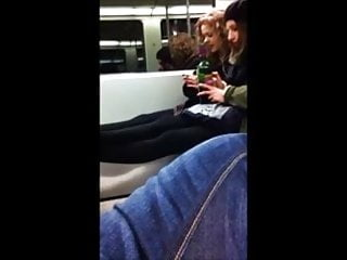 2 young women are not amused to get flashed on the train
