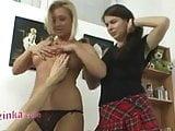 Zuzinka and her blond friend doing strip show