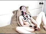 Naked bodypainting girl masturbates with dildo