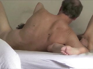 Senior hairy wife rides dildo and jacks husband to orgasm