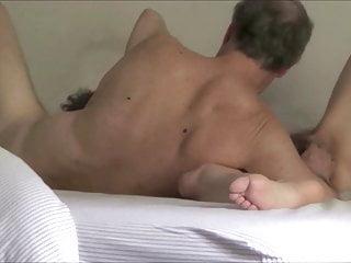 Senior hairy wife rides dildo and jacks husband to orgasm