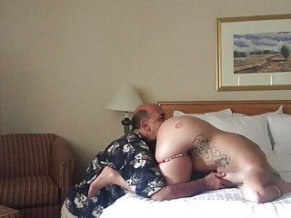 Old man eating busty young peach