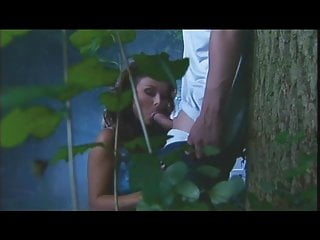 Oral fun in front of a tree