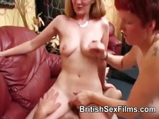 Couple with a taller pale redhead for sex